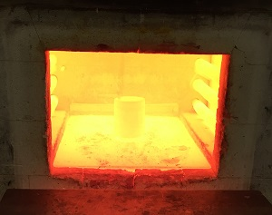 View inside a chamber furnace during the heating of steel billets